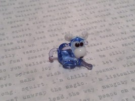 Light Blue Colored Bull Hand Blown Glass Mini Figurine Made in USA