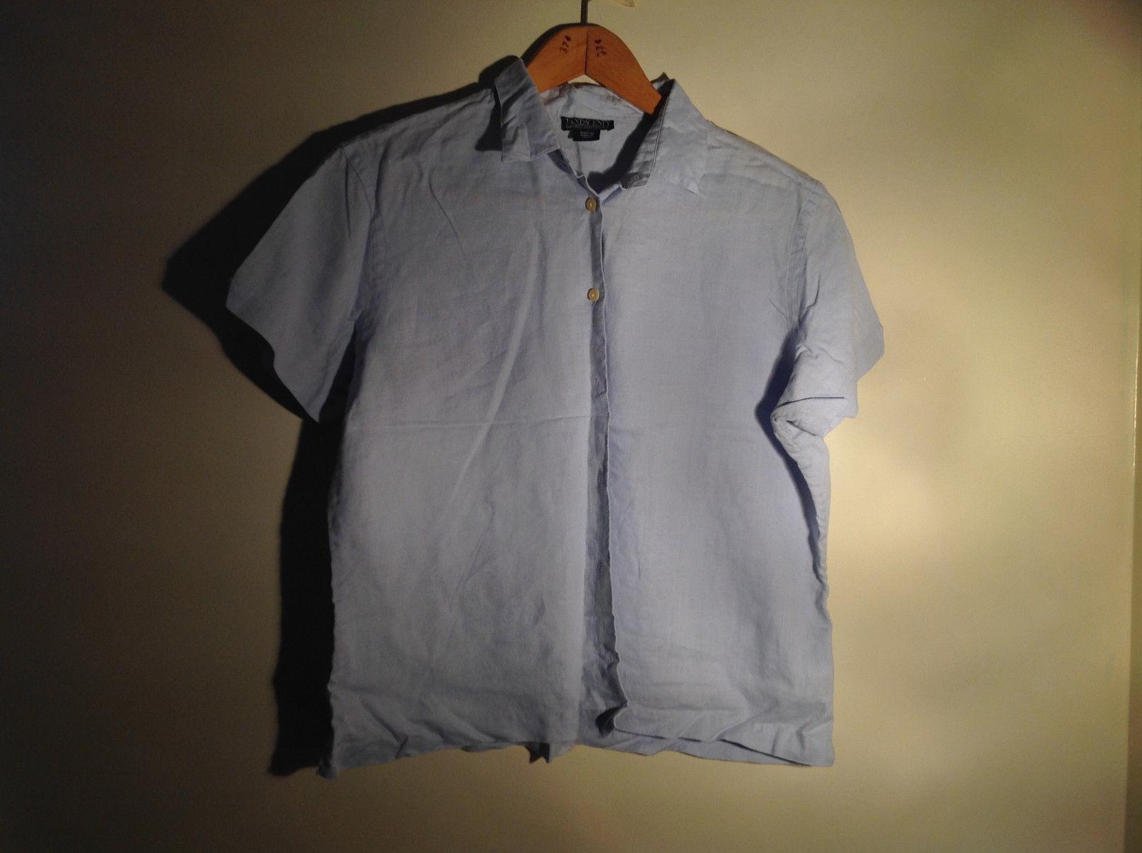 Light Blue Button Up Short Sleeve Lands End Blouse 100 Percent Linen Size M