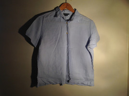 Light Blue Button Up Short Sleeve Lands End Blouse 100 Percent Linen Size M
