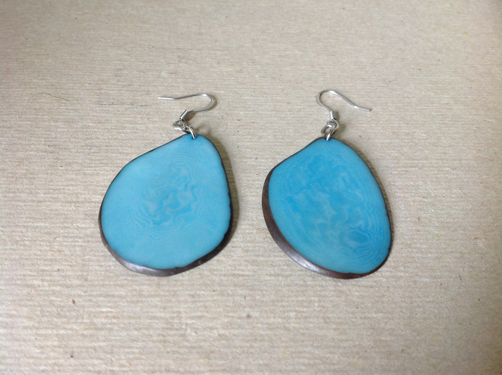 Light Blue Flat Tagua Earrings Dyes Handmade Black Outline Dangling
