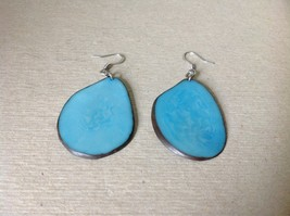 Light Blue Flat Tagua Earrings Dyes Handmade Black Outline Dangling