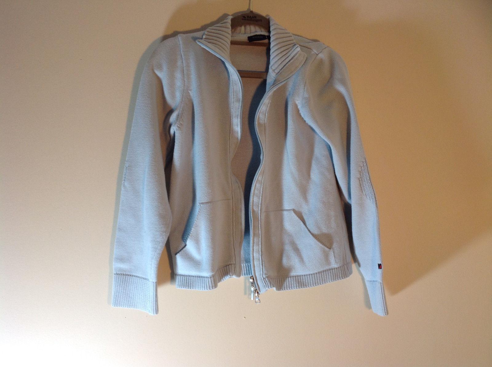 Light Blue Double Zipper Sweater 2 Pockets 100% Cotton Size Medium