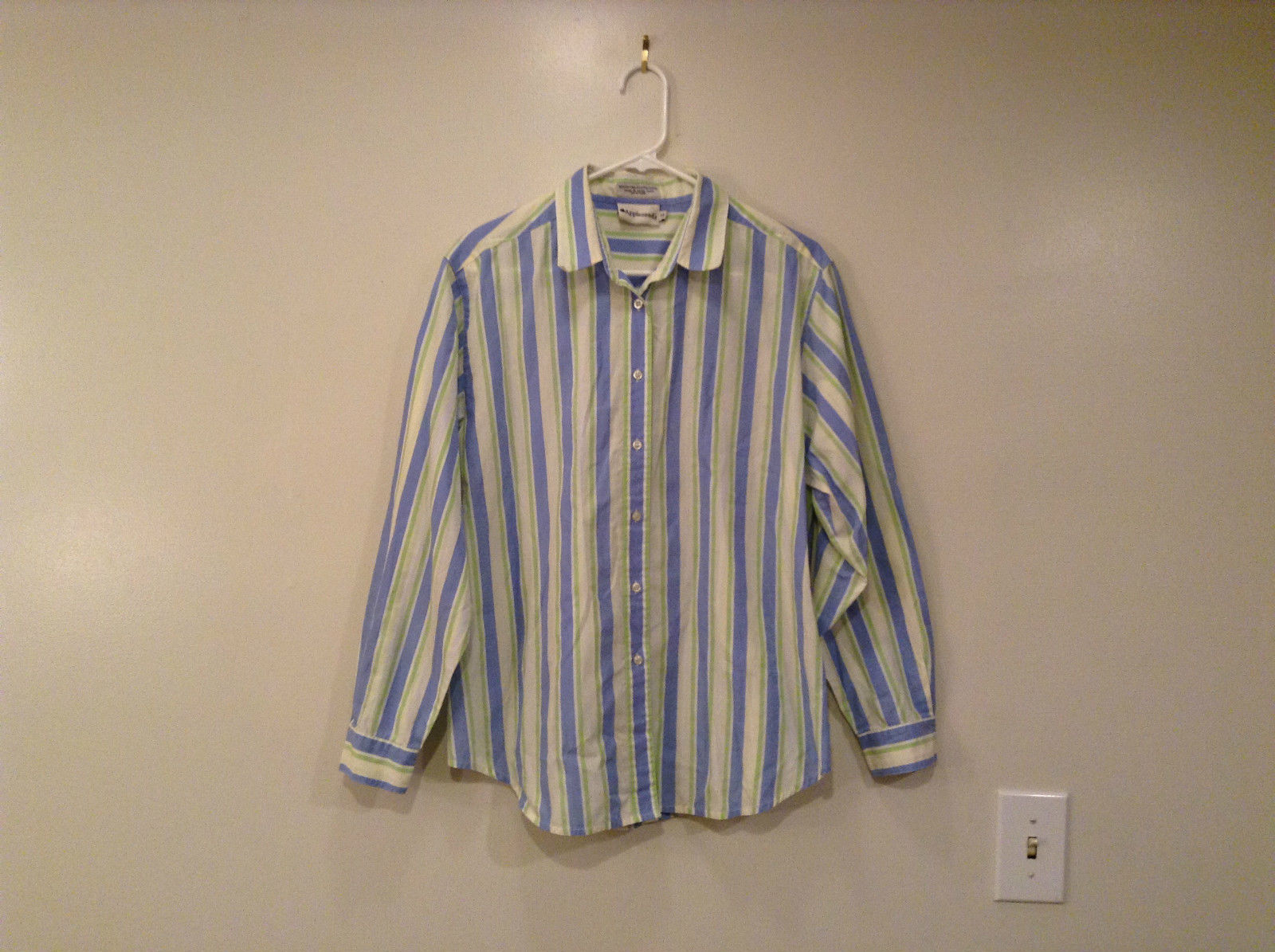 Light Blue Green Yellow White Stripes Button Front Shirt Appleseeds Size 14