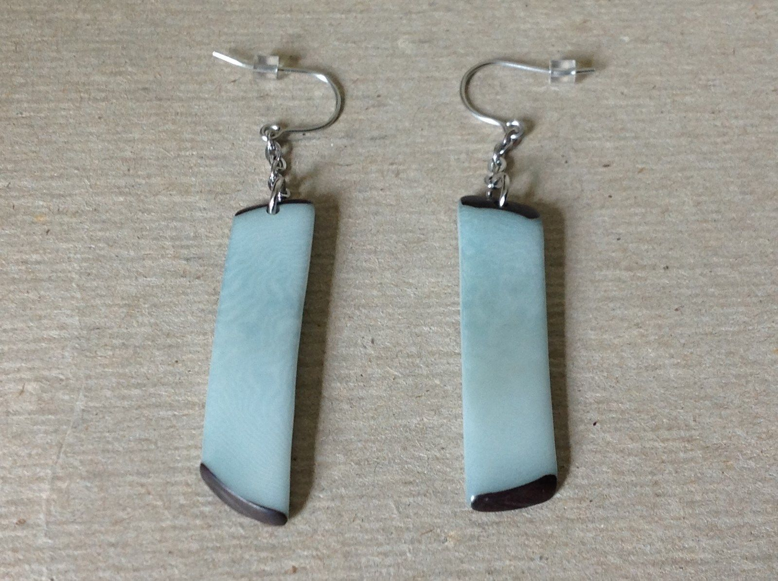 Light Blue Long Dangling Handmade Dyed Tagua Earrings