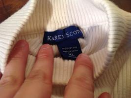 Karen Scott White Long Sleeve Sweater 100 Percent Cotton Size XL image 5