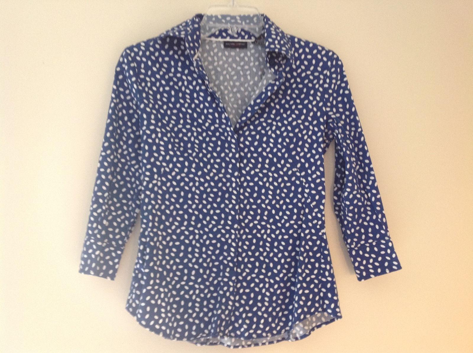Navy White Oval Spots Shirt Princess Seams New York and Company Size XS
