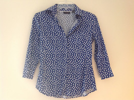 Navy White Oval Spots Shirt Princess Seams New York and Company Size XS image 1
