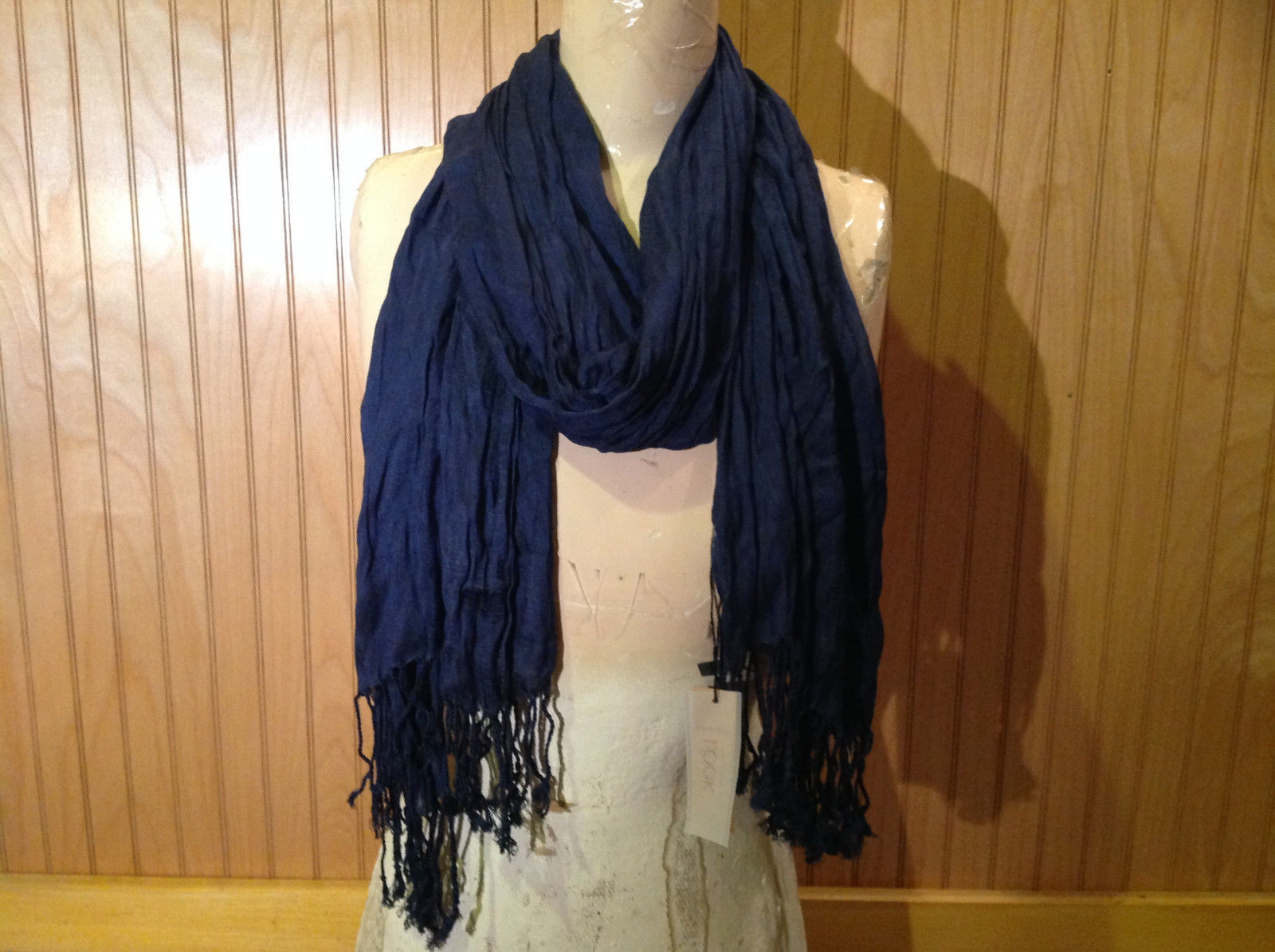 Navy Scrunched Style Silk Blend Fashion Scarf by Look Tasseled TAGS ATTACHED