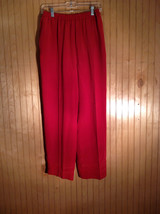 Neiman Marcus Size Small 100 Percent Silk Red Casual Pants with Elastic Waist