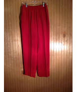 Neiman Marcus Size Small 100 Percent Silk Red Casual Pants with Elastic ... - $98.99