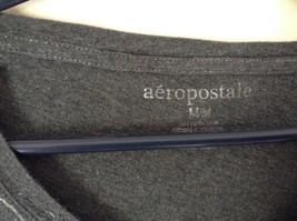 Aeropostale Gray Long Sleeve V Neck Shirt White and Blue Size Medium image 6