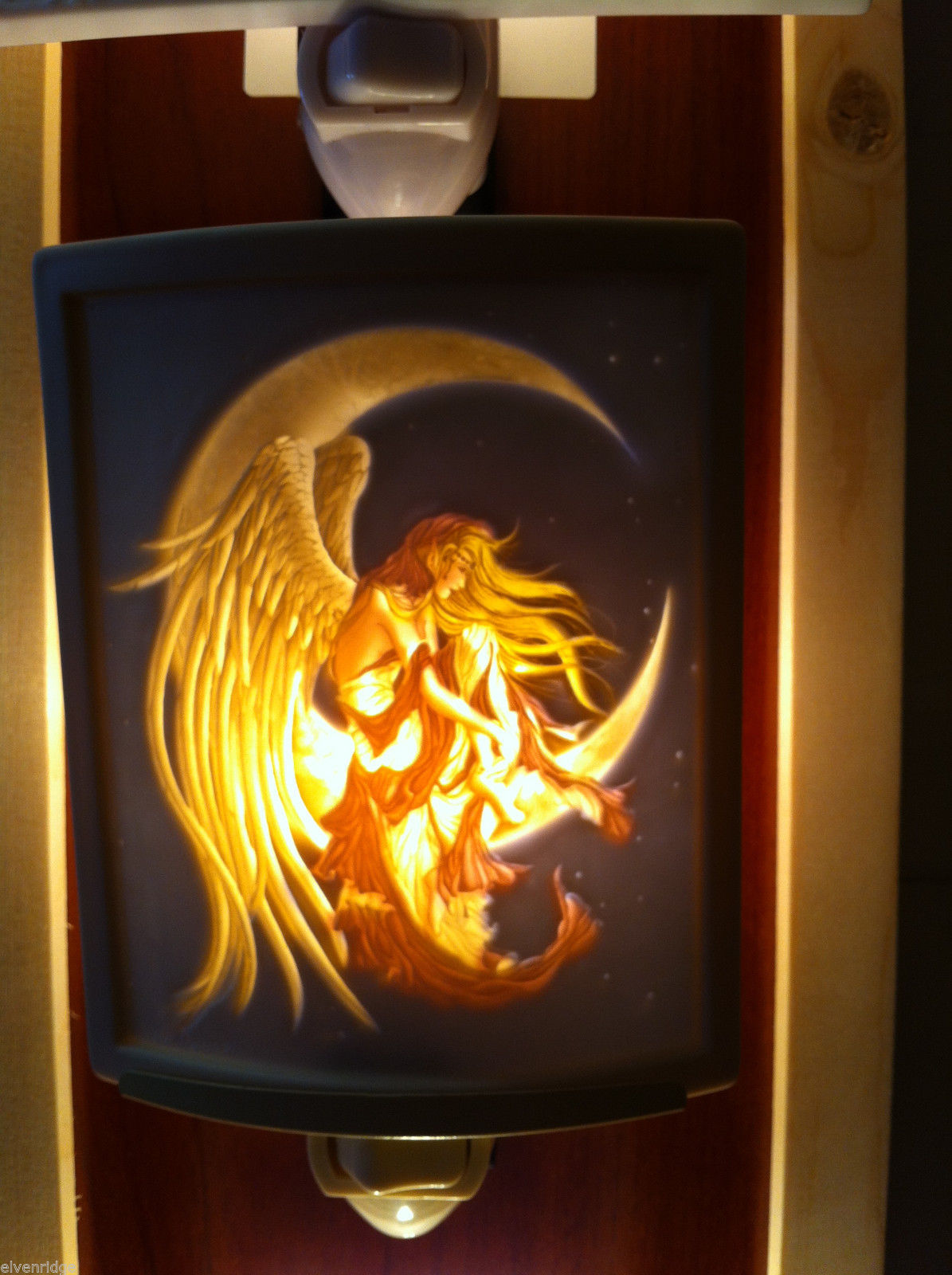 New Lithophane Porcelain night light in box Colored Moon dreamer
