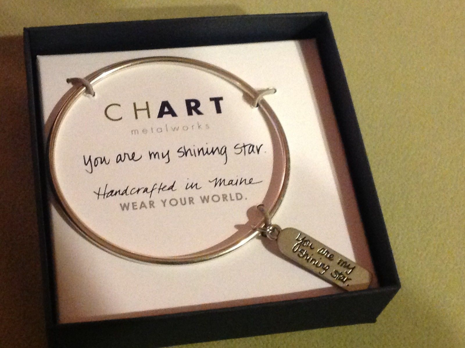 New Pewter hand made bangle bracelet You are My Shining Star engraved word tag