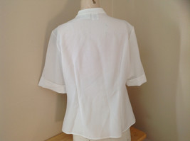 Kathy Che White Frilly Pleated Button Up Short Sleeve Shirt Made in China Size M image 7