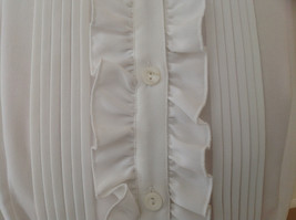Kathy Che White Frilly Pleated Button Up Short Sleeve Shirt Made in China Size M image 4