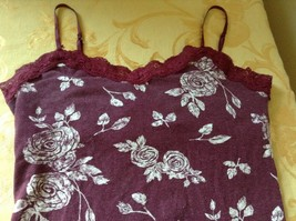 Aeropostale Maroon Tank Top Spaghetti Strap Build in Under Bra Laced Up Size M image 2