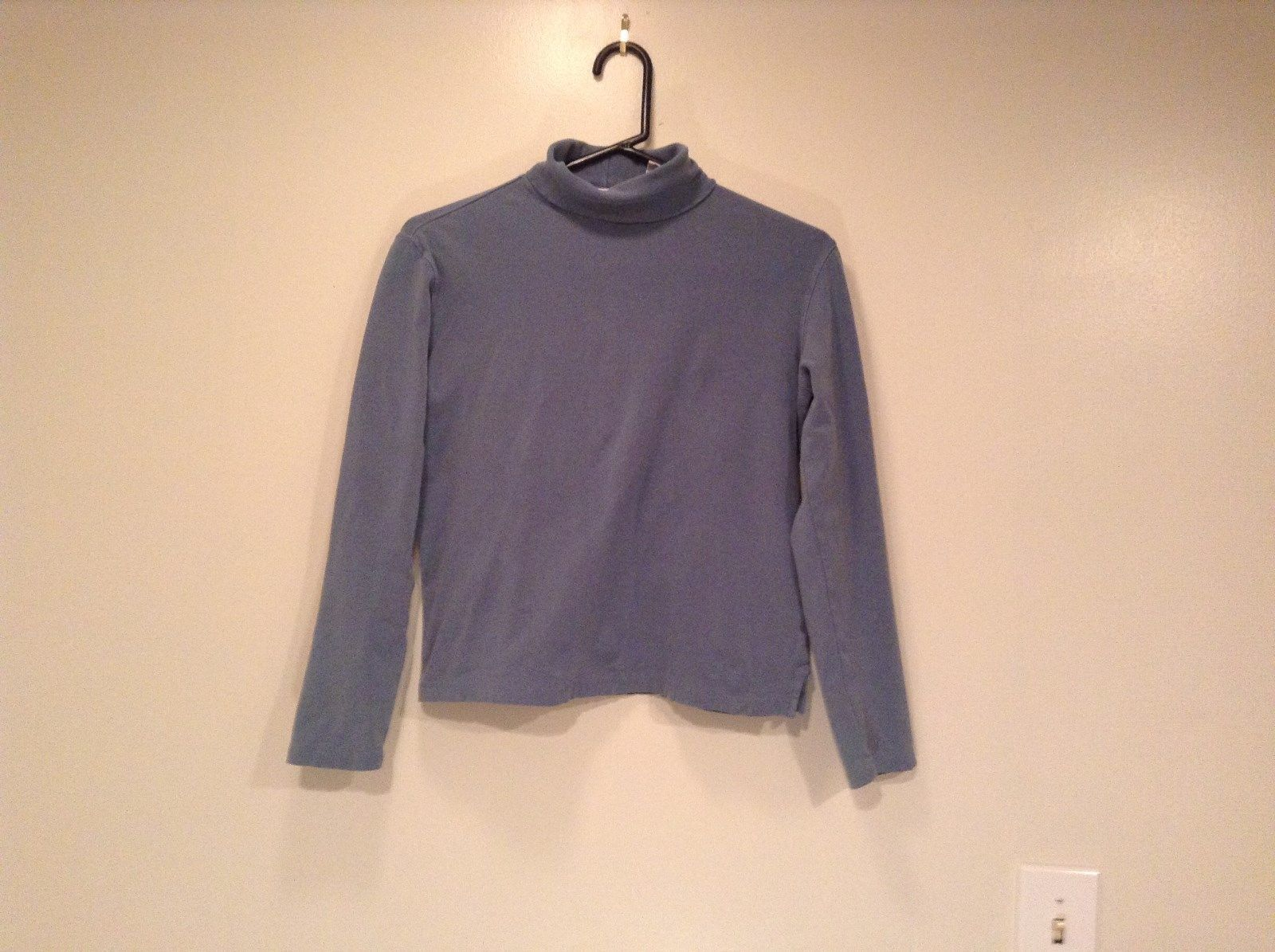 Light Blue Size Small Preswick Moore Long Sleeve Turtleneck Top Cotton Blend