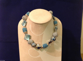 Light Blue Silver Beaded Hand Made String Necklace Unique
