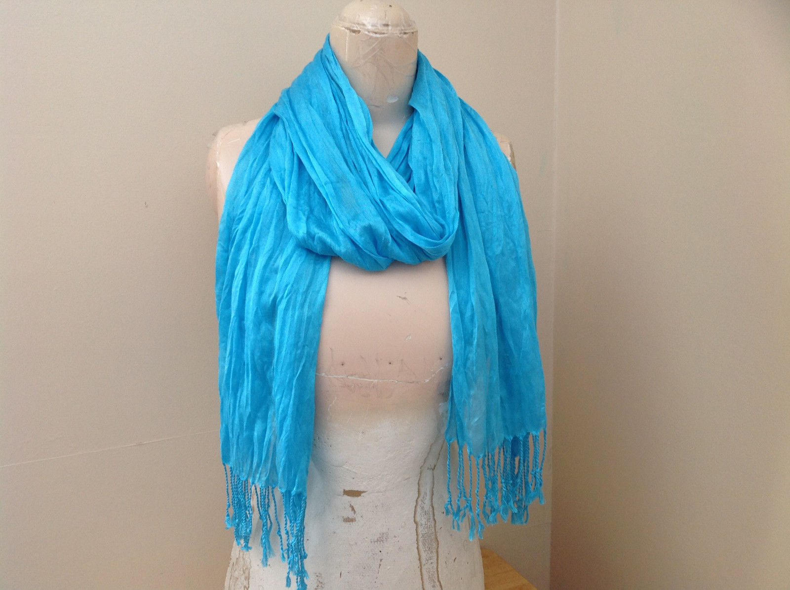 Light Blue Tasseled Scrunched Style Scarf Length 65 Inches Width 24 Inches