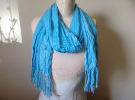 Light Blue Striped Silver Metallic Stripes Fashion Scarf by Fashion Scarf