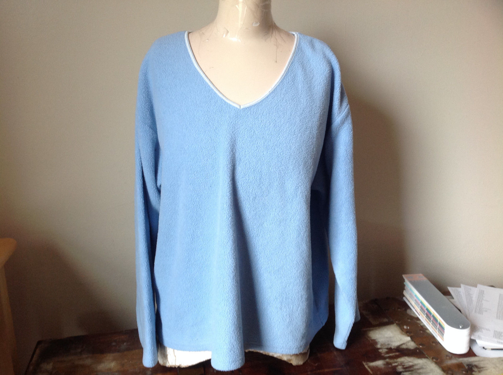 Light Blue Sweater Stretchy Long Sleeves Made in Macau Dove One Size Fits All