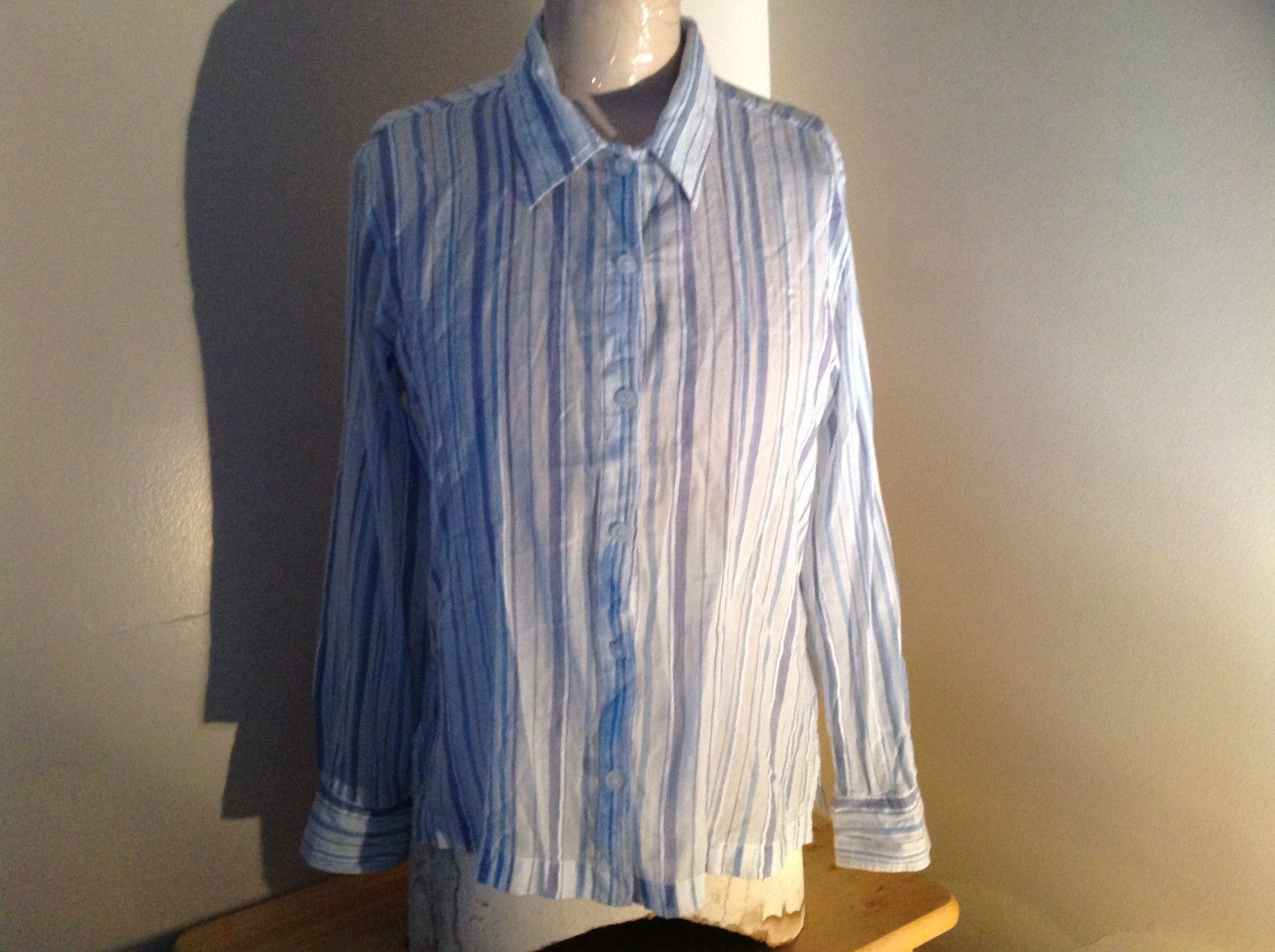 Light Blue Striped Button Up Long Sleeve Shirt by Erika Made in Nepal Size M