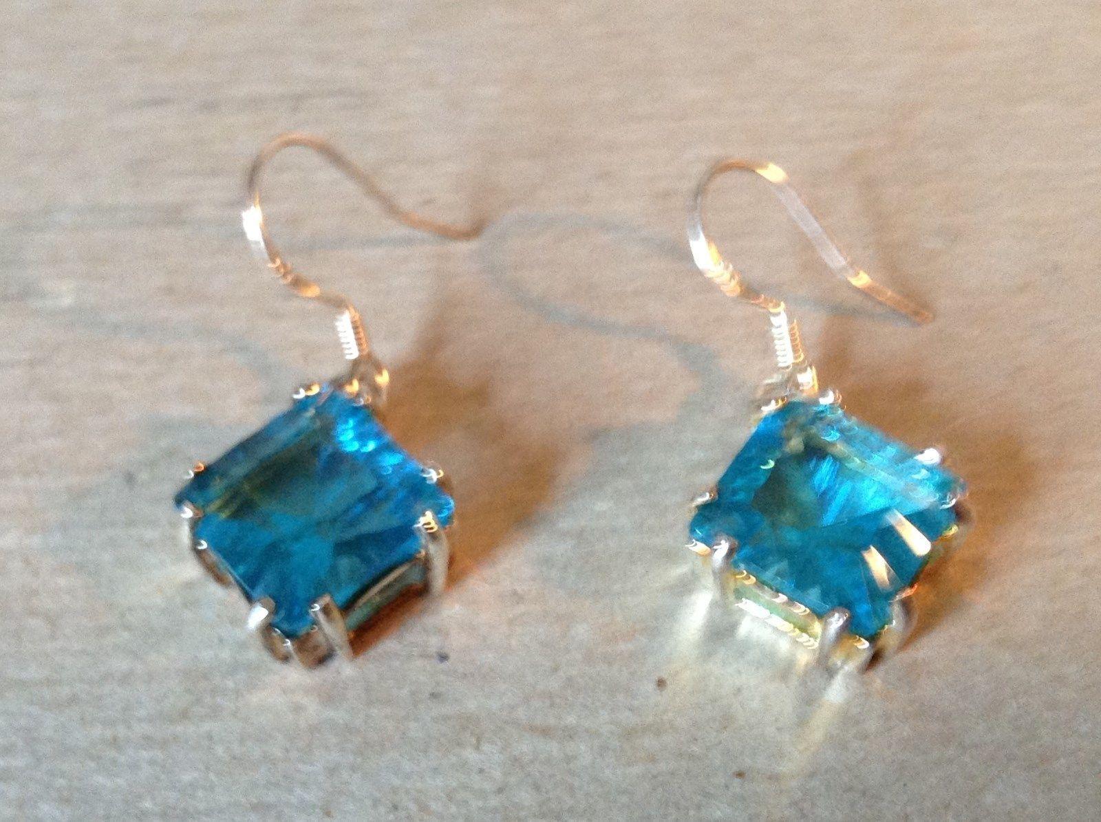Light Blue Square Crystal Dangling Earrings Set in 925 Sterling Silver