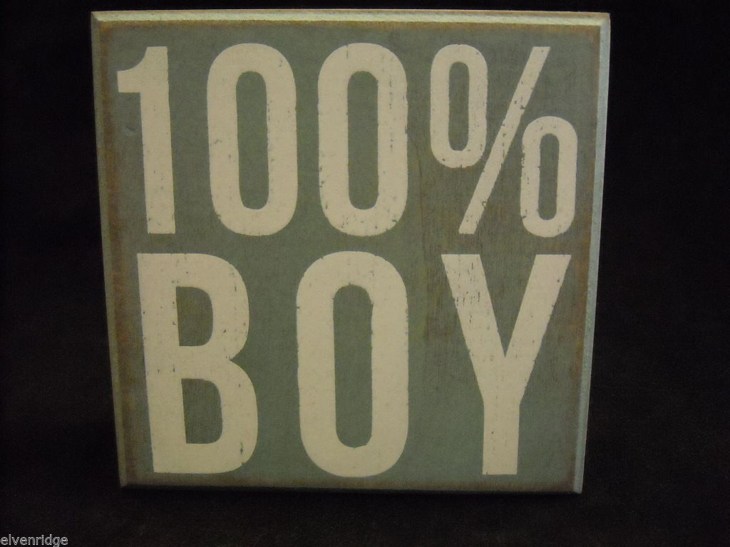 Light Blue Wooden Box Sign 100% Boy Saying