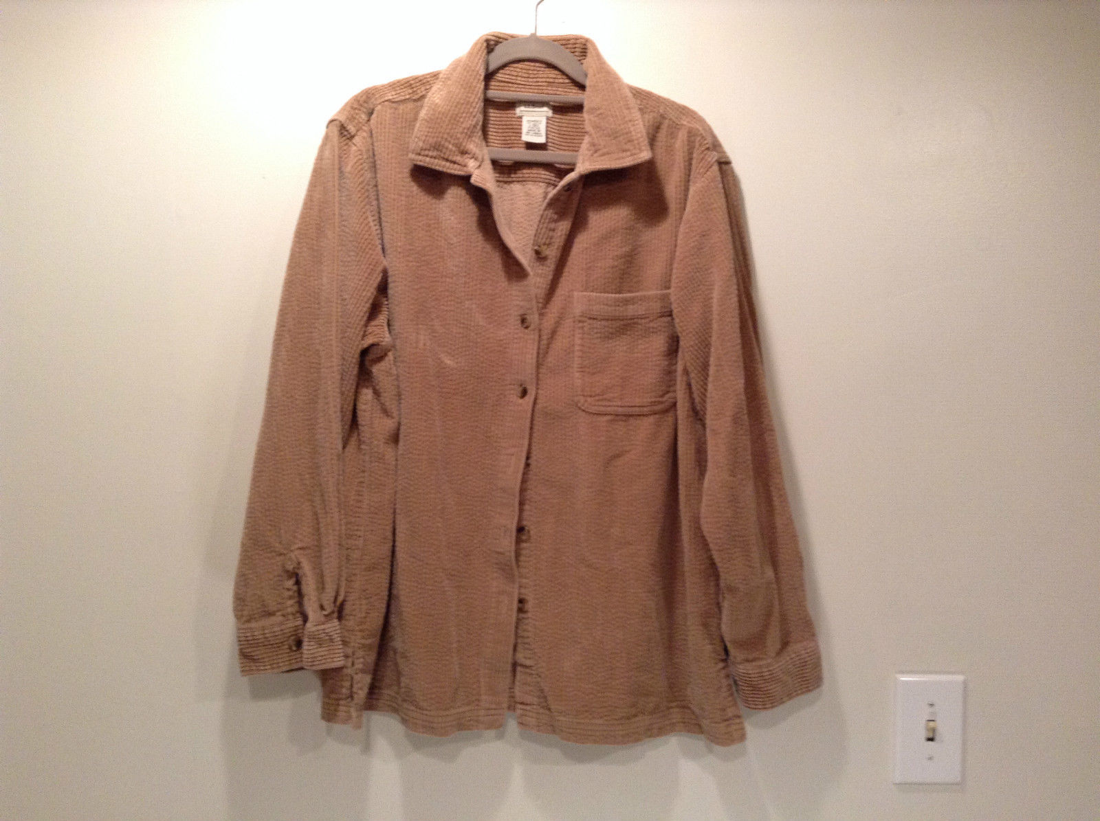 Light Brown 100 Percent Cotton Long Sleeve Button Up L L Bean Shirt Size L Reg