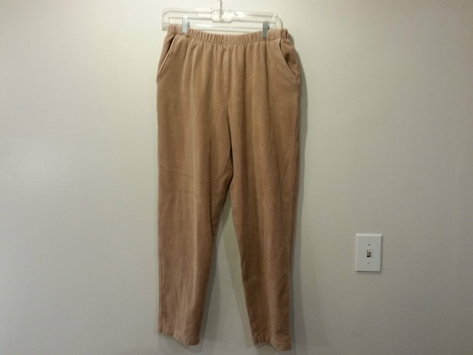 Light Brown Lands End Stretchy Elastic Waist Casual Pants Side Pockets 10 to 12