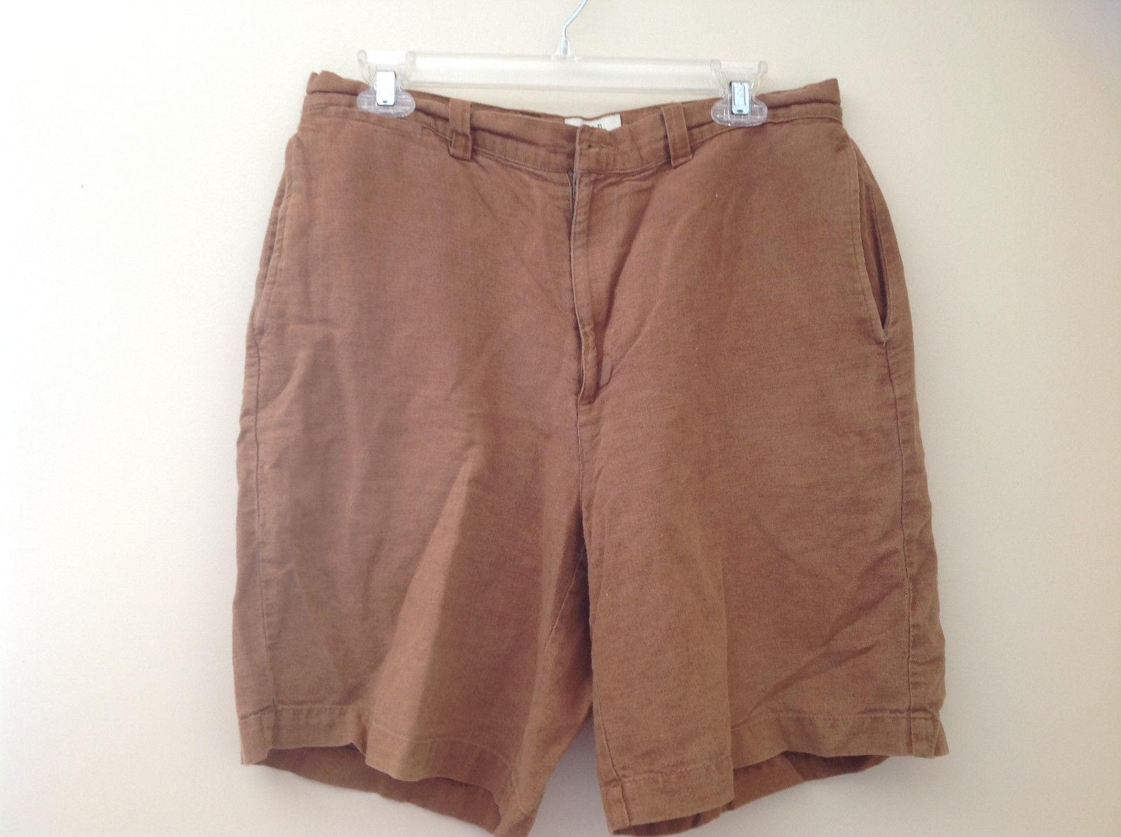 Light Brown GAP Linen Casual Shorts 4 Pockets Button and Zipper Closure Size 33