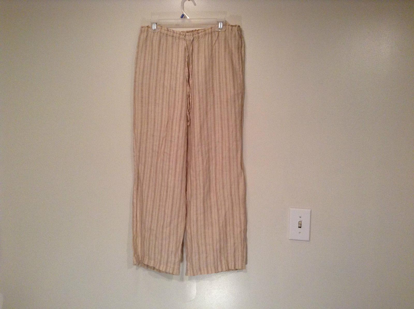 Light Brown Beige Casual Pants GAP Size S 100 Percent Linen Elastic Waist