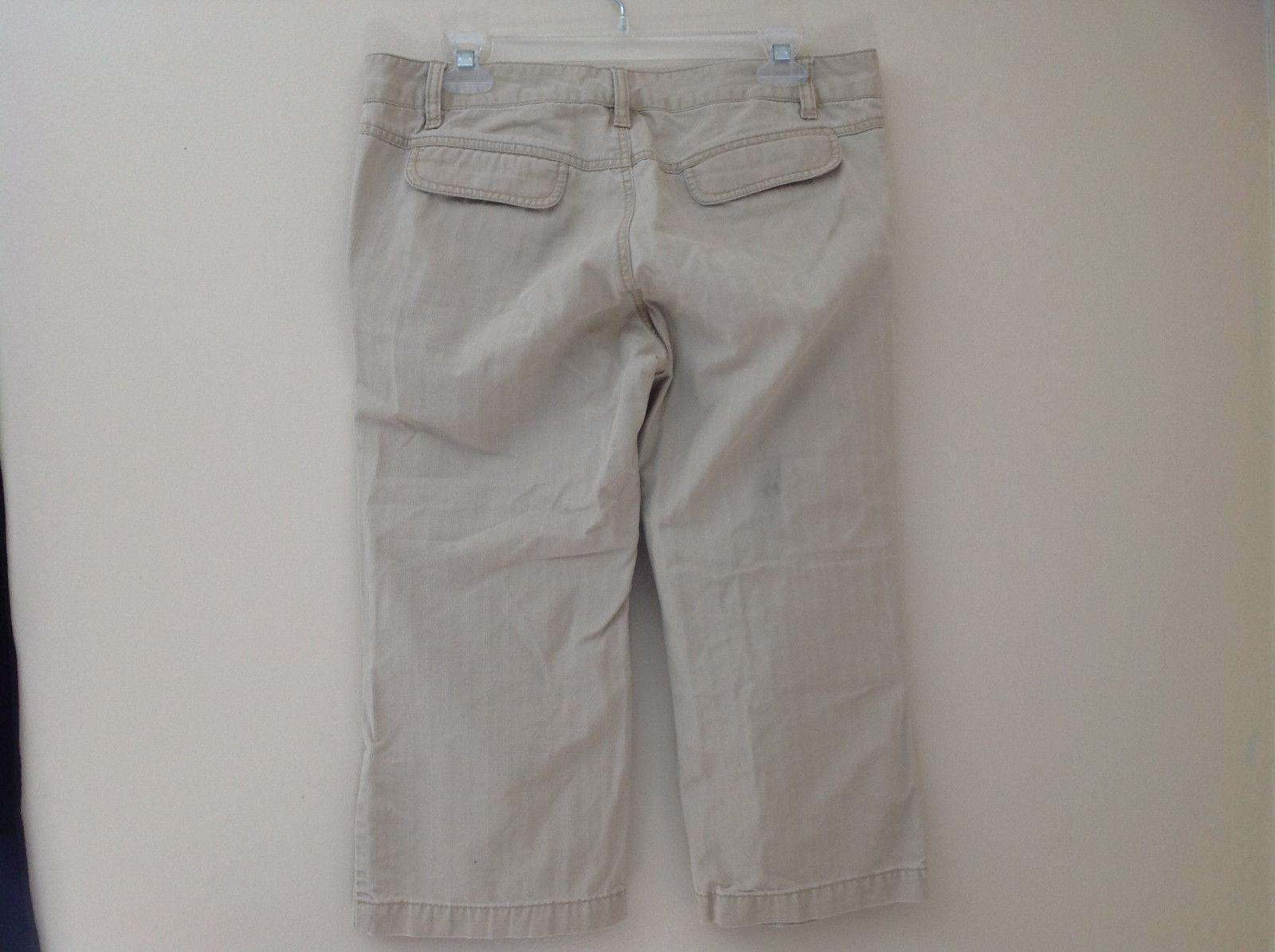 Khaki Pinstriped 4 Pocket Capri Pants Old Navy Zip Button Closure Size 10