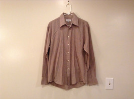 Light Brown White Hounds Tooth Pattern Dress Shirt Yves Saint Laurent Size 34M