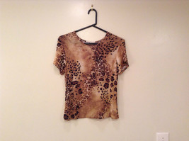 Light Dark Brown Printed Short Sleeve Top Scoop Neck Laura Donini No Size Tag