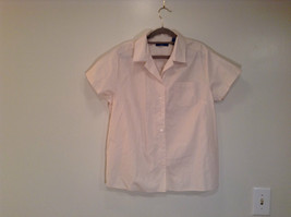 Light Cream Natural White Short Sleeve Button Up Karen Scott Sport Top Size L