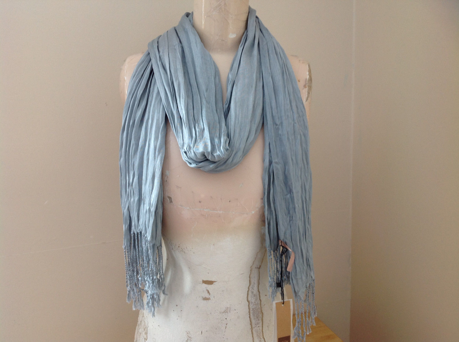 Light Gray Silk Cotton Scrunch Style Scarf with Tassels by Look Tag Attached