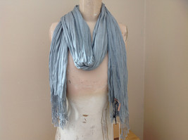 Light Gray Silk Cotton Scrunch Style Scarf with Tassels by Look Tag Atta... - $39.99