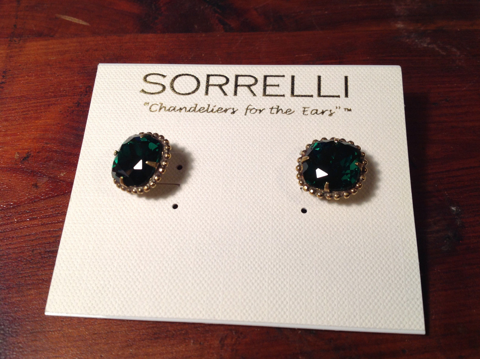 New Sorrelli  Silver Tone Dark Green Crystal Authentic Antique Earring