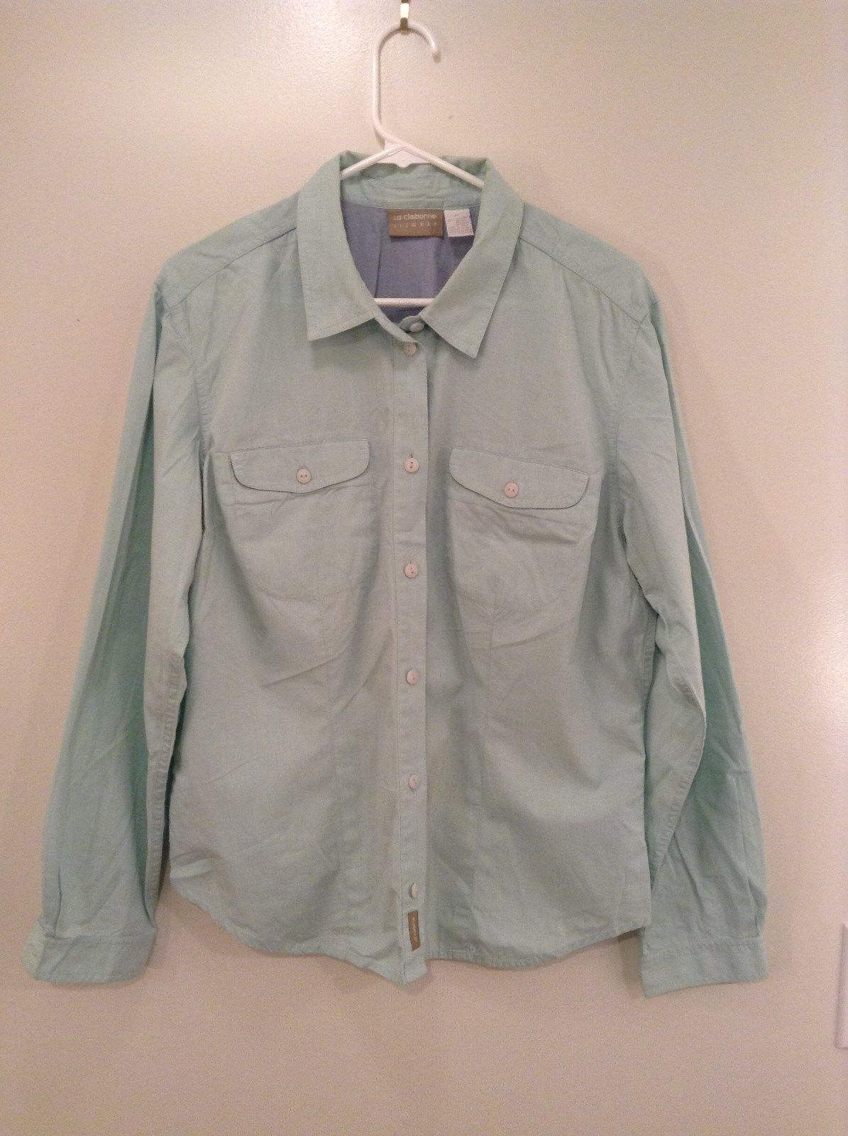 Light Green Liz Claiborne Size 12 Button Up Shirt Size 12 Two Chest Pockets
