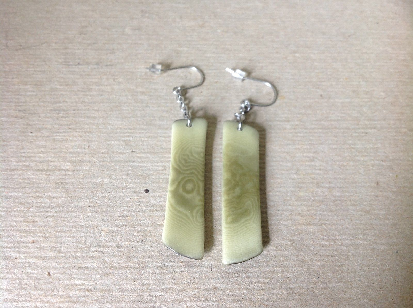 Light Green Flat Tagua Earrings Dyes Handmade Black Outline Dangling