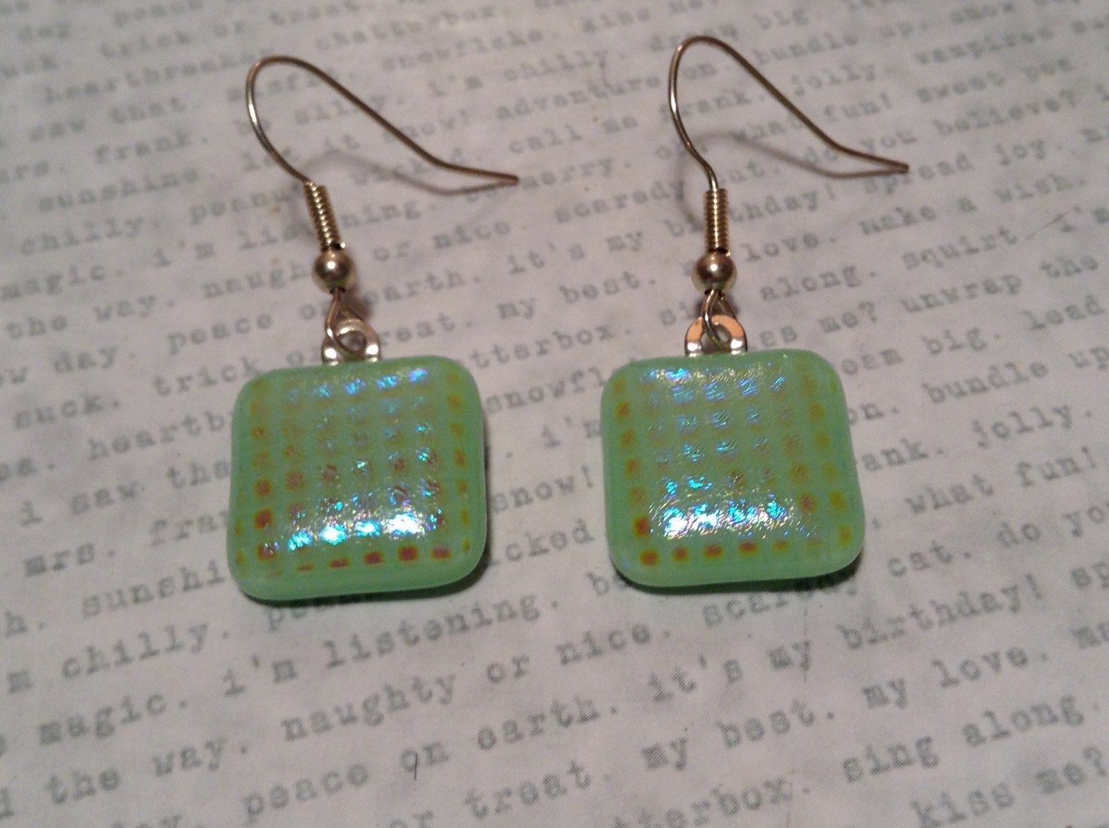 Light Green with Grid Like Metallic Enamel Mixed Metal Glass Square Earrings