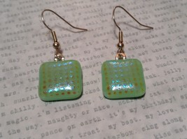 Light Green with Grid Like Metallic Enamel Mixed Metal Glass Square Earrings image 1