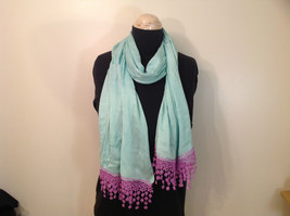 Light Mint Green Scarf with Lavender Lace Ends 100 Percent  Viscose image 1