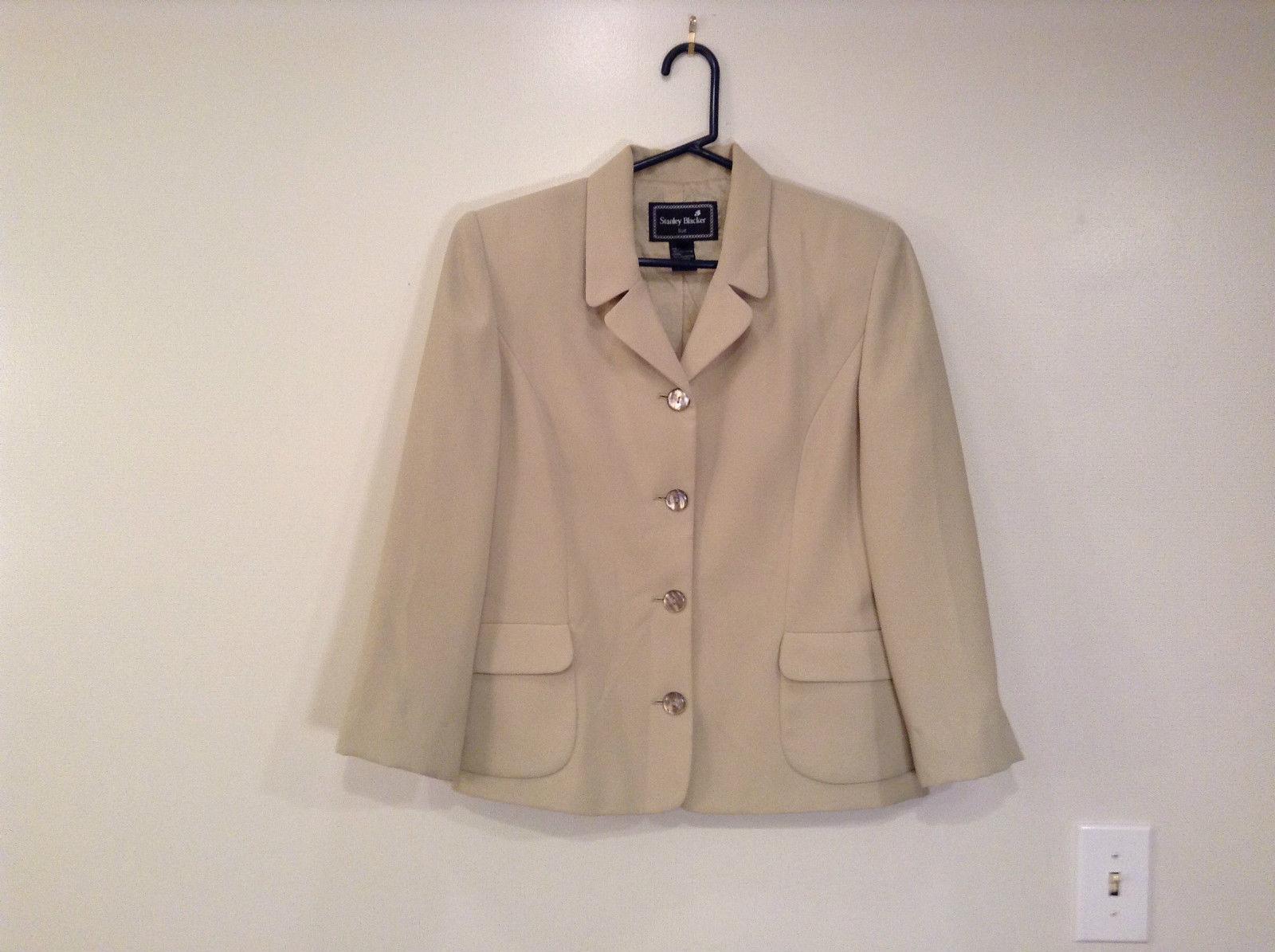 Light Green Stanley Blacker Suit Jacket Blazer Size 14P 4 Button Closure Pockets