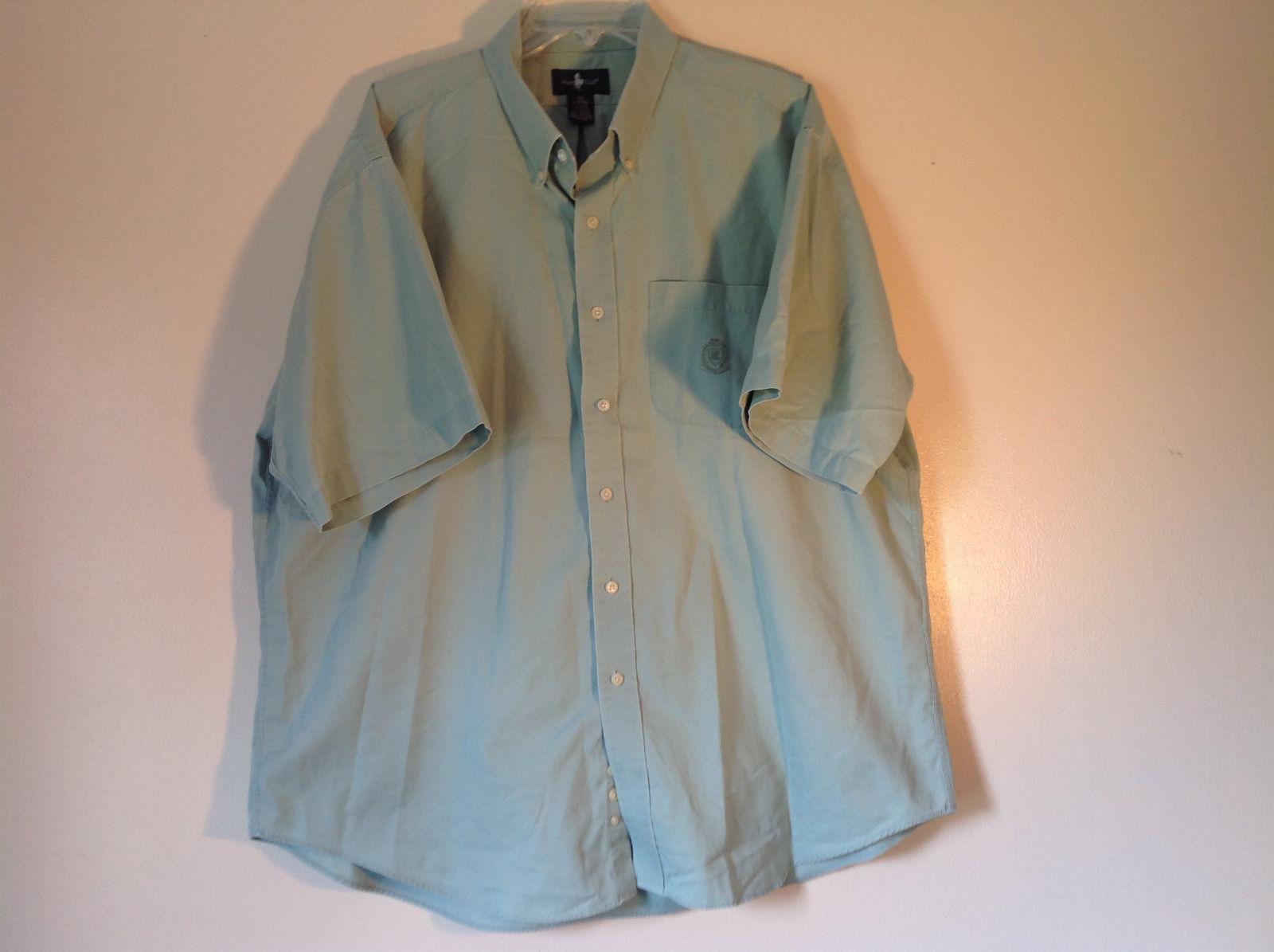 Light Green Button Down Short Sleeve Casual Shirt Hunt Club Collar Size XXL