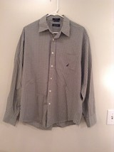 Light Green Blue Checked Button Up Long Sleeve Cotton Shirt Nautica Size Large