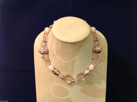 Light Pink Clear and Opaque Beaded Hand Made String Necklace Unique