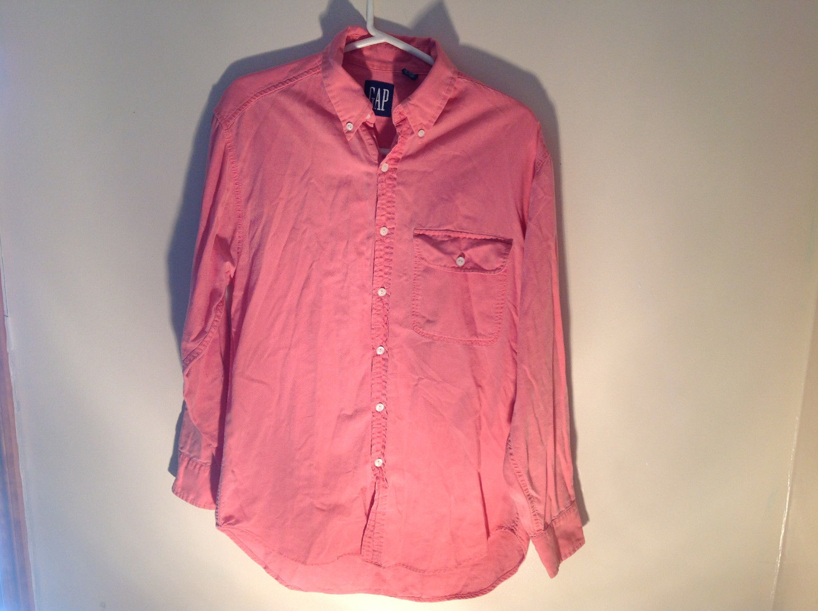 Light Pink Long Sleeve Casual Button Up Shirt Front Pocket on Chest GAP Size S