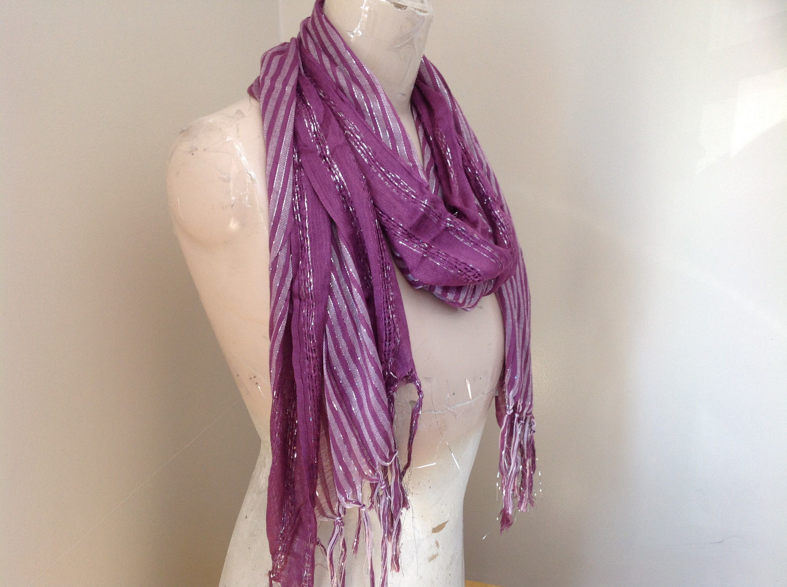 Light Plum Lilac Woven Material Striped Scarf Tassels Fashion Scarf